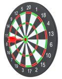 Стрелка дротика цели ударяя в dartboard Стоковое Фото