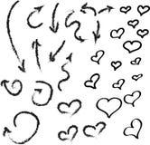 Стрелка и сердце идеи проекта эскиза Стоковое фото RF