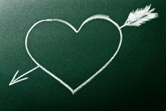 стрелка как визирование влюбленности сердца принципиальной схемы первое Стоковое Изображение RF