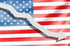 Стрелка падает на предпосылку американского флага иллюстрация вектора