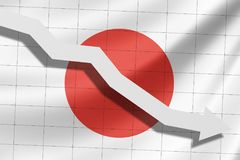 Стрелка падает на предпосылку флага Японии бесплатная иллюстрация