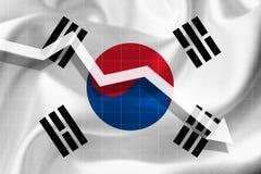 Стрелка падает на фоне флага Sout бесплатная иллюстрация