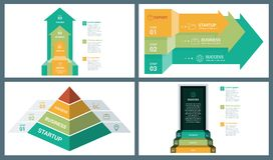 Стрелка перспективы вектора цвета яркого оттенка, пирамида и шаблон Infographic шага двери Стоковые Изображения