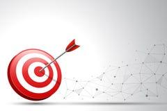 Стрелка ударяя дротик цели на месте включения и линии предпосылке Концепция для целевого маркетинга, технологии, сетевого подключ Стоковые Изображения