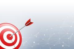 Стрелка ударяя дротик цели на месте включения и линии предпосылке Концепция для целевого маркетинга, технологии, сетевого подключ Стоковые Фото