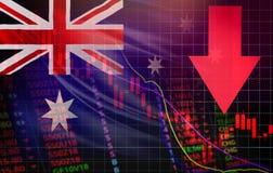 Стрелка цены кризиса запаса рынка Австралии красная вниз с валют изучения конъюнктуры рынка фондовой биржи падения диаграммы иллюстрация штока