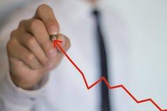 Стрелка чертежа бизнесмена изолированная иллюстрация роста принципиальной схемы предпосылки 3d представила белизну стоковая фотография rf