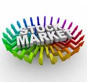 стрелки выходят поднимая шток вышед на рынок на рынок Стоковое Изображение RF