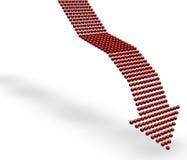 стрелки красный цвет вниз Стоковая Фотография