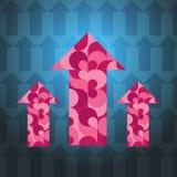 3 стрелки сделанных по образцу пурпуром пестротканых