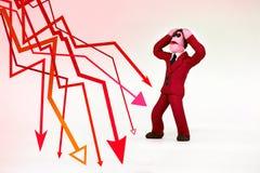 стрелок красный цвет вниз Стоковые Изображения