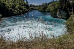 Стремительное, чистое река носит свои бурные воды в океан стоковое изображение rf