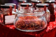 Стренги шафрана красные готовые для потребления Стоковые Фото