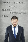 Стресс, сердитый бизнесмен в костюме стоковая фотография rf