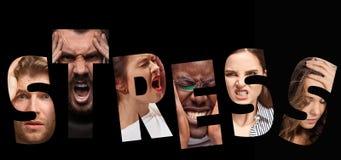 Стресс слова составленный тревоженых потревоженных усиленных сторон людей и женщин Стоковое фото RF