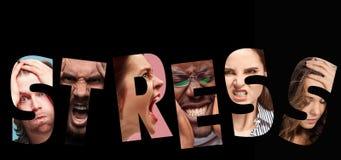 Стресс слова составленный тревоженых потревоженных усиленных сторон людей и женщин Стоковое Изображение