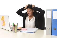 Стресс страдания коммерсантки работая на столе компьютера офиса потревожился отчаянное Стоковое Изображение RF