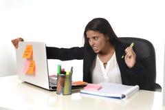 Стресс страдания коммерсантки работая на столе компьютера офиса потревожился отчаянное Стоковые Фото