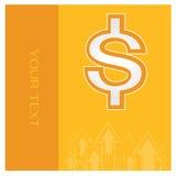 Стрелка вектора оранжевых денег предпосылки дела установленная Стоковое Изображение