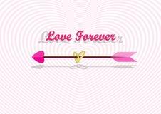 Стрелка влюбленности в тоннеле сердца Стоковое фото RF