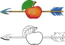 Стрелка в яблоке Стоковые Изображения