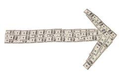 Стрелка индекс сделанный банкнот Стоковые Изображения
