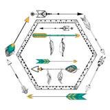 Стрелка и перо для племенного boho вводят предпосылку в моду бесплатная иллюстрация
