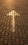 Стрелка на плитке дороги в лучах заходящего солнца Стоковая Фотография