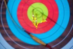 Стрелка проколола центр бумажной цели концентрических кругов других цветов Стоковое Изображение RF