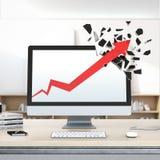 Стрелка роста красная ломает дисплей компьютера Стоковая Фотография