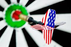 Стрелка дротика с флагом США Стоковое фото RF