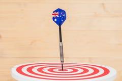 Стрелка дротиков с Австралией сигнализирует на доске дротика Стоковая Фотография RF