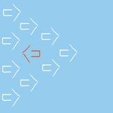Стрелка руководителя красная поворачивает назад бесплатная иллюстрация