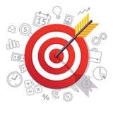 Стрелка ударяет центр цели белизна успеха дела изолированная принципиальной схемой Стоковая Фотография