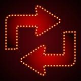 Стрелка шильдика для текста с электрическими лампочками также вектор иллюстрации притяжки corel Стоковые Изображения RF