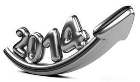 стрелка 3D с ростом 2014 года вверх Стоковое Изображение