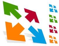 Стрелки в направлении 4 - измените размеры, выровняйте, увеличьте значок концепции бесплатная иллюстрация