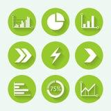 Стрелки и комплект значка диаграммы зеленый, плоский дизайн также вектор иллюстрации притяжки corel Стоковое Фото