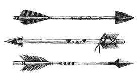 Стрелки нарисованные рукой в племенном стиле Стоковое Изображение RF