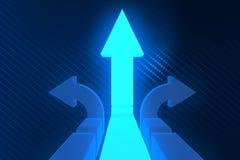Стрелки дороги на перекрестках в трудной отборной концепции - rende 3d Стоковое фото RF