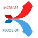 Стрелки увеличивать и рецессии Стоковая Фотография