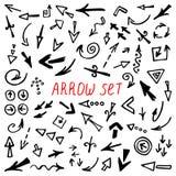 Стрелки Doodle комплект, рука нарисованные установленные стрелки Стоковые Фотографии RF