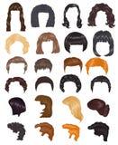 Стрижка вектора женщины стиля причёсок женская на коротких или длинных парикмахерских услугах иллюстрации волос и париков или hai бесплатная иллюстрация