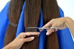 Стрижка на действительно длинных волосах стоковые фото