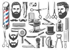 Стрижка парикмахерскаи и побрить значки оборудования иллюстрация вектора