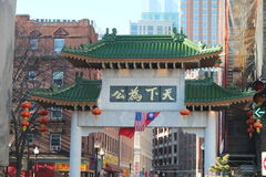 Строб Бостон Массачусетс Чайна-тауна стоковое фото rf