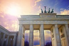 Строб Бранденбурга в Берлине, Германии стоковые изображения rf