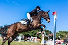 Строб девушки лошади стоя скача Стоковое Изображение