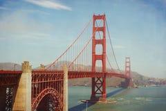 строб золотистый san США francisco моста Ретро влияние фильтра Стоковые Изображения