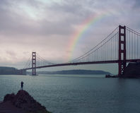 строб золотистый san california francisco моста стоковое изображение